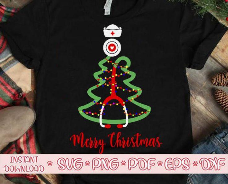 Stethoscope christmas tree svg,Merry Christmas svg,Nurse