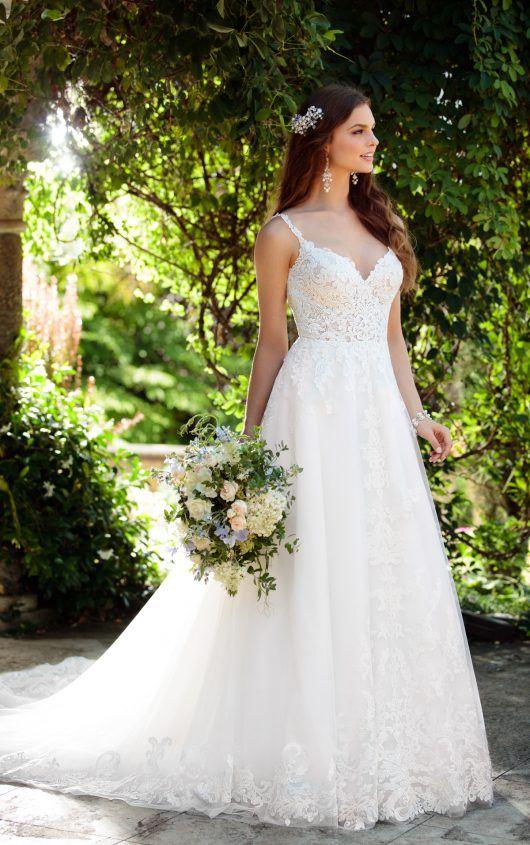 Essence d2230 aline lace, beaded, low back wedding dress