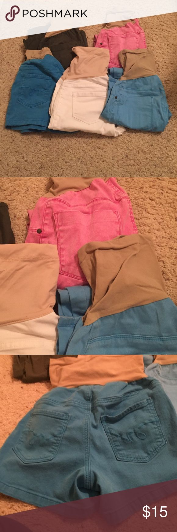 Maternity Bundle👶🏻🎉❤️ Pink Pant Size Small Ankle Jean, Blue Pant Size Small Ankle Jean, White Pant Size Medium Ankle Jean. Green Pant Size Medium Boot Cut. Blue Shorts Size Small. I wore all throughout both pregnancies. Good Condition. Brands include: Motherhood, Indigo Blue, Liz Lange. Price Firm. Motherhood Maternity Pants Ankle & Cropped