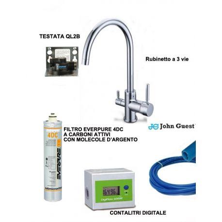 Sistema di Filtrazione Everpure completo di filtro 4DC, contalitri digitale e rubinetto 3 vie e raccordi