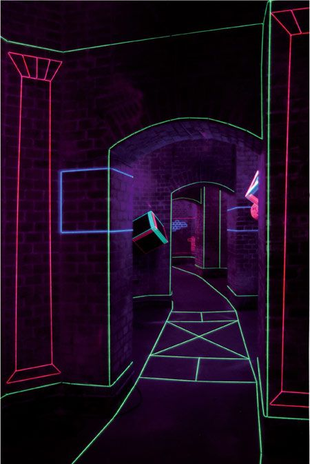 Colored Thread And UV Lights Form Captivating Augmented Spaces