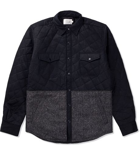 Shades of Grey by Micah Cohen CK Waxed Twill & K56 Grey Speckled Twill Quilted Shirt Jacket