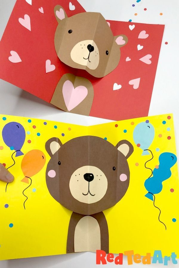 Easy Pop Up Bear Card For Valentine S Day Red Ted Art In 2021 Valentines Diy Kids Cute Valentines Day Cards Pop Up Valentine Cards