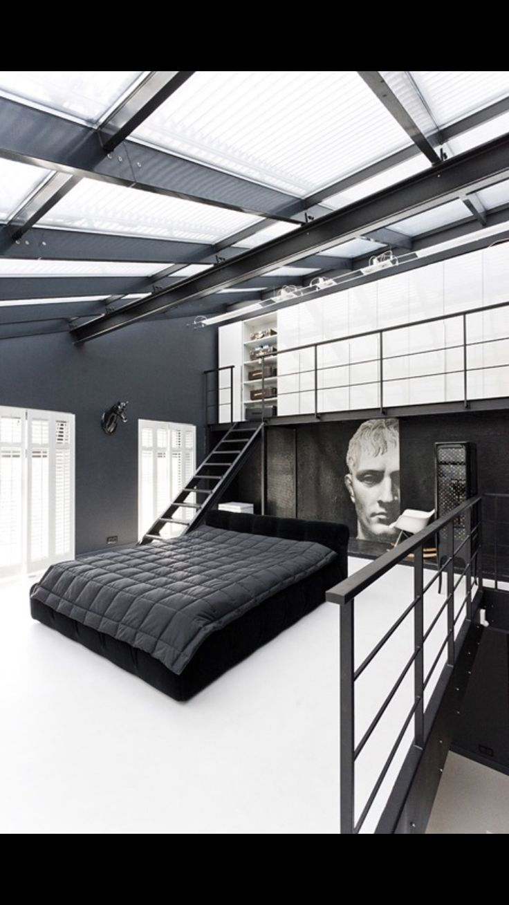 #bedroom #greek #roman #blackwhite #bed #design #modern #industrial