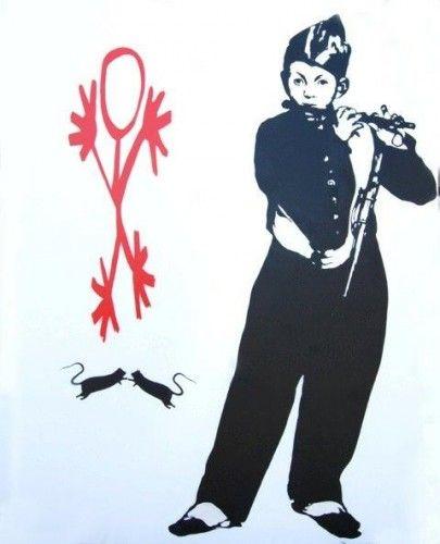 Piedpiper Técnica mixta sobre tela 160x130 cm Autor: Blek Le Rat 3 Punts Galeria #arte #artecontemporaneo #art #contemporaryart #pintura