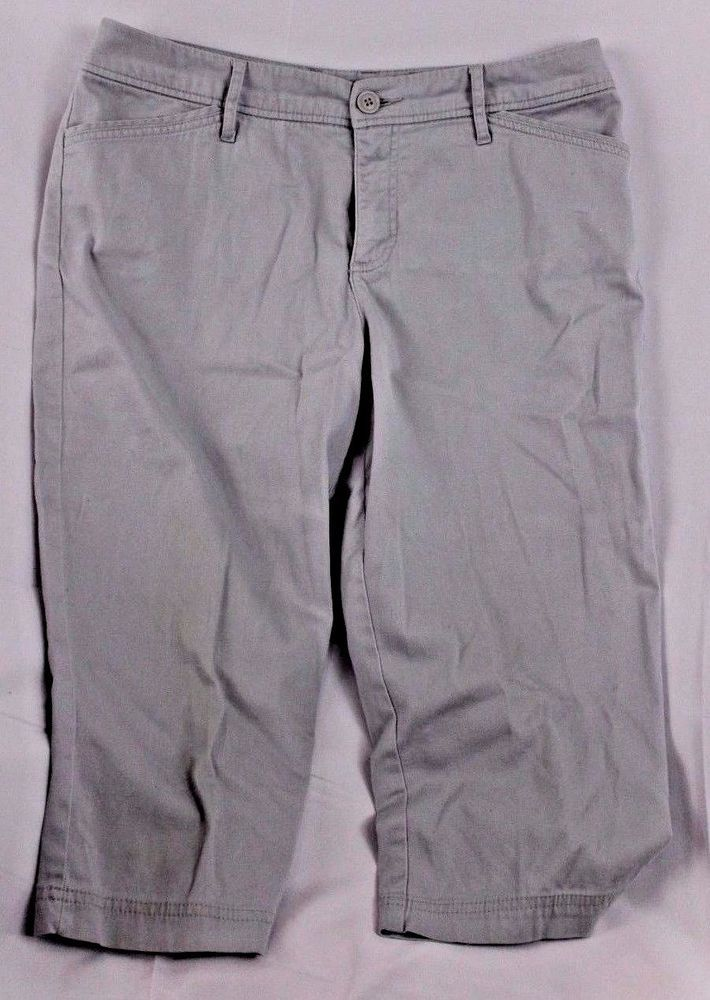 St. John's Bay Womens Capri Pants Size 12 Casual Gray Khaki Cropped Slacks Cute #StJohnsBay #CaprisCropped
