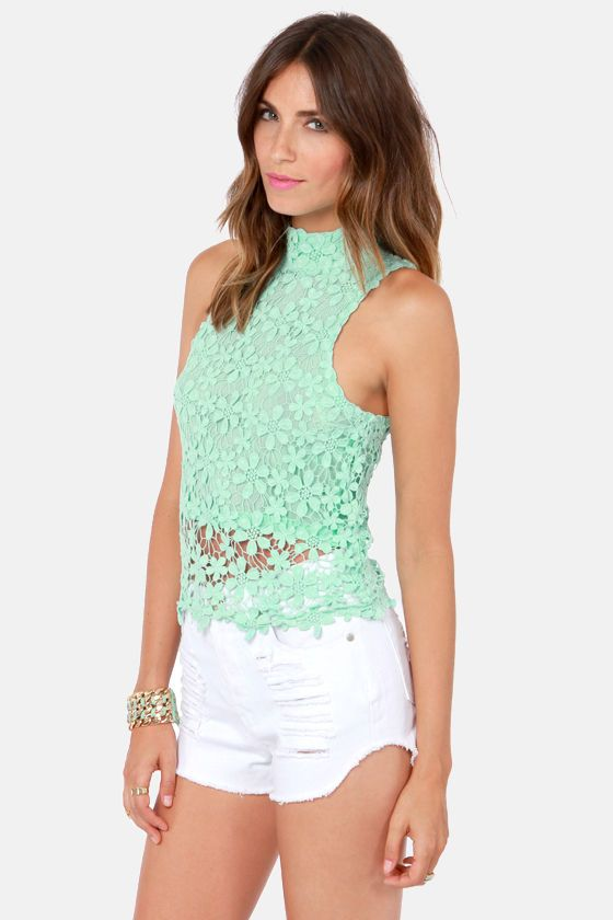 Victoria Mint Green Lace Top at LuLus.com # ...