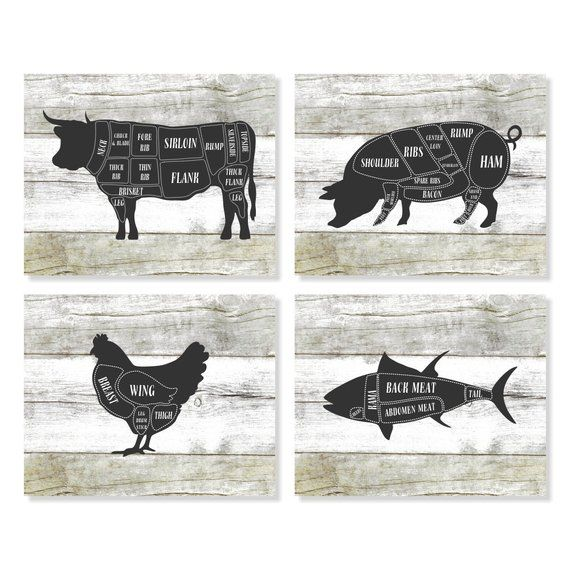 Kitchen Art Cow Pig Chicken Fish Butcher Diagram Chart Print On A Faux Wood Background Set Of Four 4 With Images Kitchen Art Prints Butcher Diagram Kitchen Wall Art
