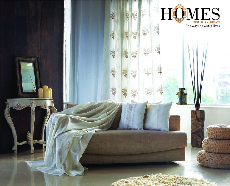 Light coloured shades of draperies with both plain and self design patterns gives a nice and soothing effect to your room! Explore more at www.homesfurnishings.com #Draperies #Curtains #Decor #Homes #Cushions #Upholstery #HomesFurnishings #HomeSweetHome