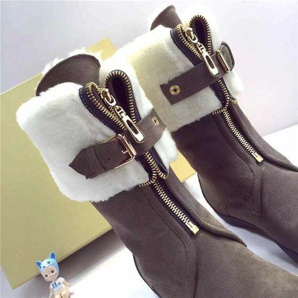 2016 новые зимние сапоги женские сапоги носить два передних молнии сапоги плоские ботинки снежка женщин овчины