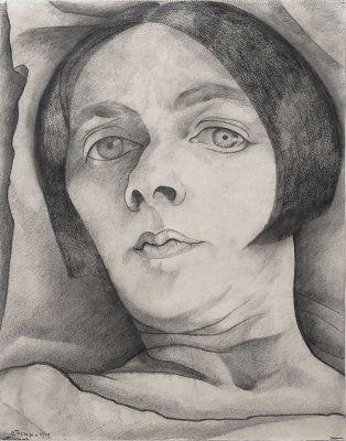Zelfportret ziekbed Genève,  tekening 1929 her p koch