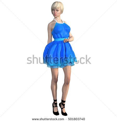 One well-groomed young woman in a blue dress. She stands close to the camera in a modest pose. Not looking at the camera. 3D rendering, 3D illustration