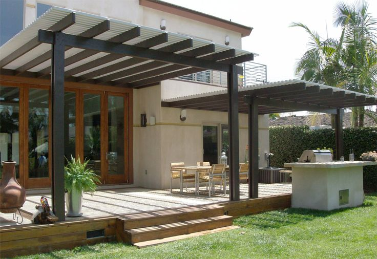 Another example of multi-level pergola--could accommodate curtains easily