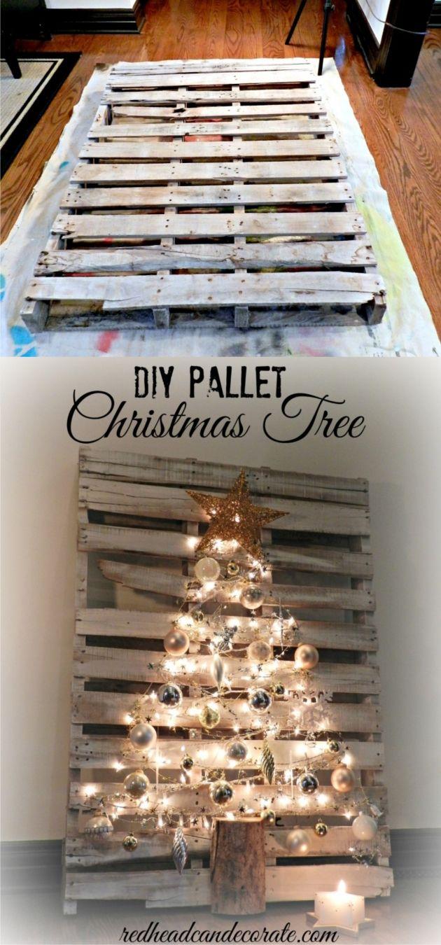 Árbol de navidad con un palé / Vía http://redheadcandecorate.com/