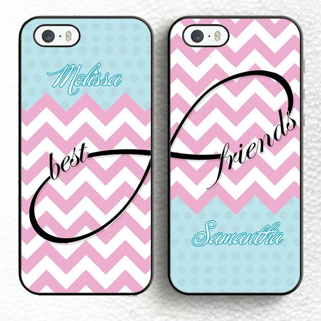 Set of Two Personalized Pink Chevron Infinity Best Friends BFF Soft TPU Phone Cases For iPhone 6 6S Plus 5 5S 5C 4S SE Cover Price: USD 7.99 | UnitedStates