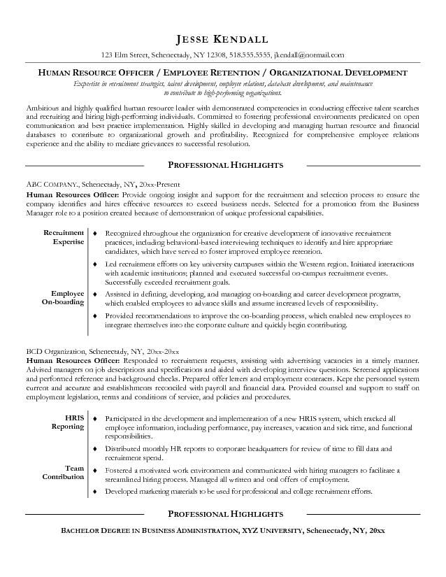 human resources examples resource sample resume manager