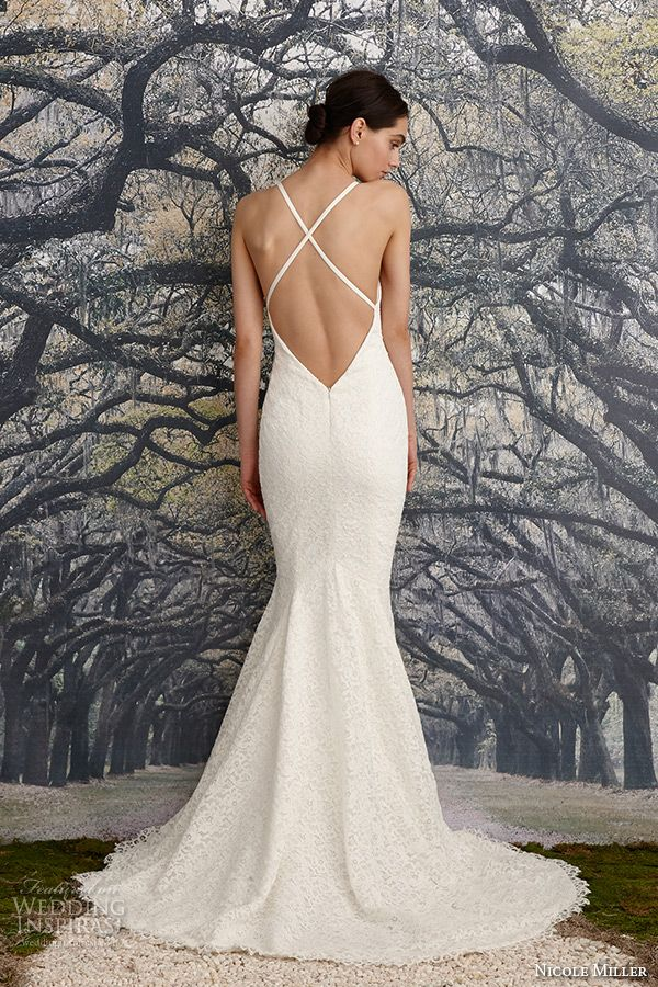 nicole miller spring 2016 bridal spagetti strap floral corded fit to flare mermaid wedding dress violet back