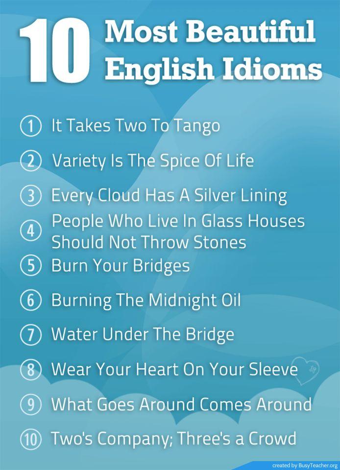 10 most beautiful English idioms.