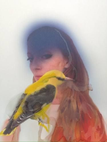 "Saatchi Art Artist Martin Sjardijn; Painting, ""Portrait of Dorith with Oriole"" #art"