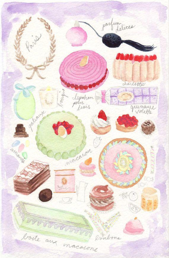 Paris Spring Desserts Pastries Laduree Collage Herme - ORIGINAL Watercolor Painting - Macarons, Tarts, Candy, Cameos, Chocolate - 6 x 9