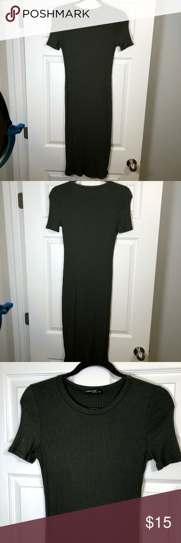 Body contouring maternity dress Super cute forest green dress that hugs all of the cute curves of a pregnant body! Comfortable, easy to wear and style. Labeled as a large, fits as a small. Hits below the knees. New dress with no tags. Dresses Midi