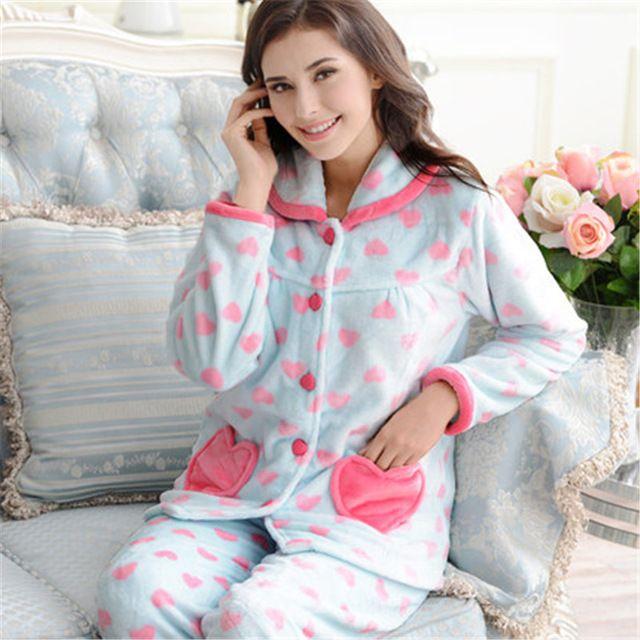 Love New Women Cute Fluffy Coral Velvet long-sleeve pajama sets warm winter sleepwear fleece print night suit casual set