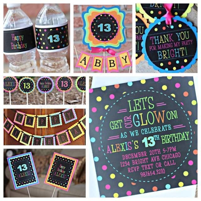 Girl Neon Birthday Party Decorations.  7 piece party decoration box.   Neon/ Tween / Teen / Glow party decor. by CharmingTouchParties on Etsy