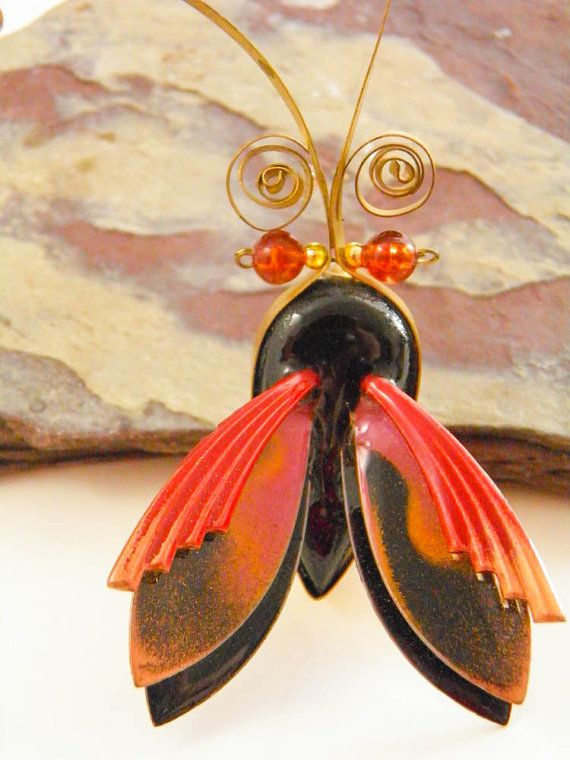 Handmade Jewelry Copper and Brass Enamel Brooch by ThePickingPair, $24.00.  would be cute in fused glass too!!