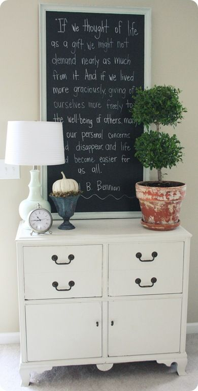Framed chalkboard with quote over furniture