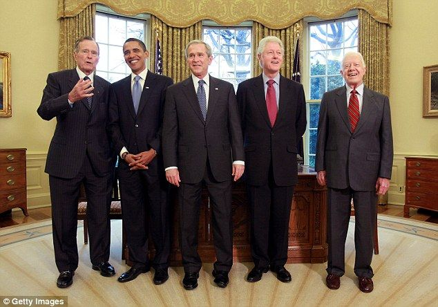 Wishing well: Carter said he had received calls of support from all of the living presidents. 'It's the first time they've called me in a long time,' he joked. From left to right, all of the current living presidents pictured in 2009: George HW Bush, Barack Obama, George W Bush, Bill Clinton, Jimmy Carter