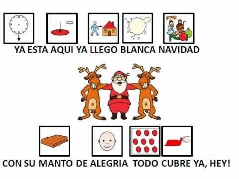 "VILLANCICOS - ""Blanca Navidad"".  Adaptación de famoso villancico con pictogramas de ARASAAC.  http://www.youtube.com/watch?v=rBagNJWq_78"
