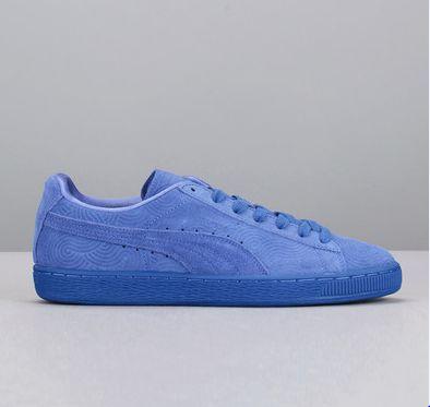 Sneakers bleues suede texturé Classic Bleu Puma prix promo Baskets Femme Monshowroom 73.00 €