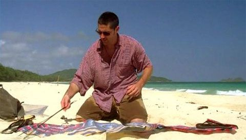 "5 In ""Stranger in a Strange Land,"" Jack is held captive on Hydra Island. One of its inhabitants, Isabel, translates his tattoo as him not being one of those around him. He claims that she knows what the writing says, but not what it means. Nevertheless, Isabel's interpretation matches the episode as in the flashback the viewers see Jack with a kite, which represents the tattoo's literal translation ""Eagles high, cleaving sky,"" and marks Jack's inner freedom, independence, and bravery."