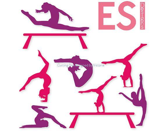 Gymnast Silhouettes Gymnastics Design Svg Cutting Files