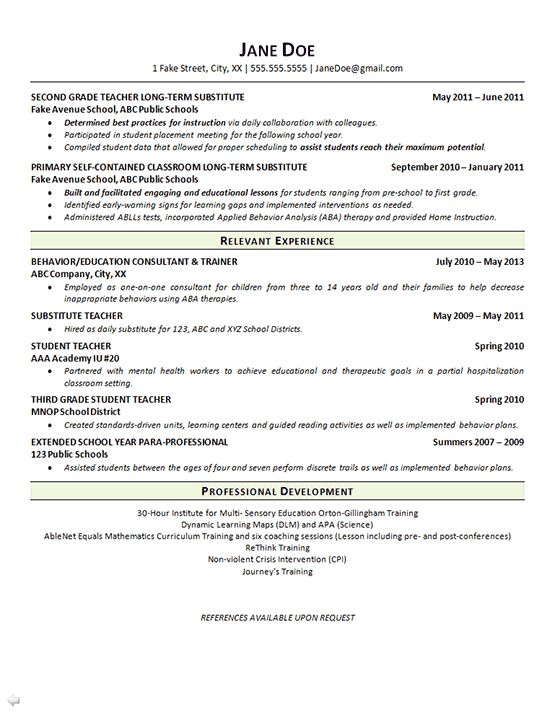 The 25+ best Teacher resumes examples ideas on Pinterest - preschool teacher resume example