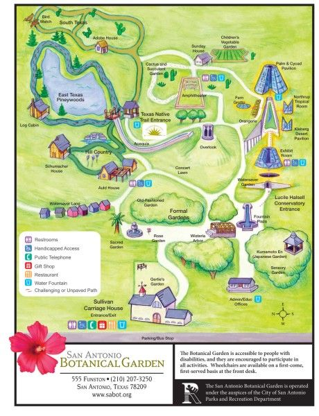San Antonio Botanical Garden Map