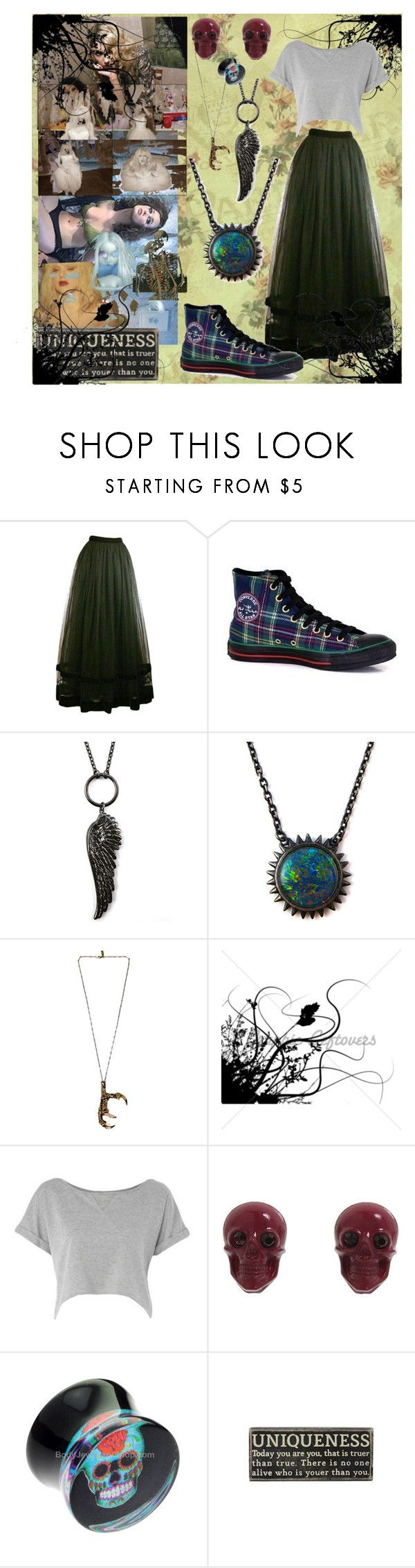 """Ur Just Different"" by ginarayworks ❤ liked on Polyvore featuring Kay Unger New York, Converse, Alex and Chloe, Pamela Love, H! by Henry Holland and Tarina Tarantino"