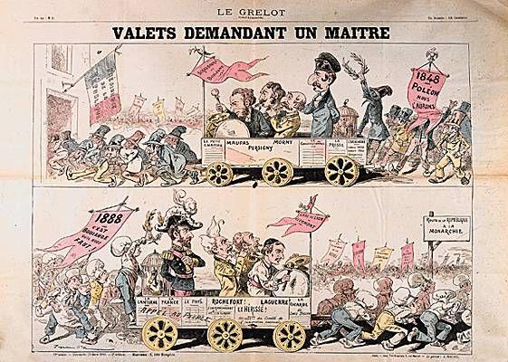 """Boulangisme: Valets demandant un maître.-  Voulant empêcher Geoges Boulanger de partir à Clermont Ferrand la foule envahit la gare de Lyon. Il devient alors le """"syndic des mécontents"""": une coalition hétéroclite qui constitue un parti au programme vague.  Boulanger remporte de nombreux succés au cours d'élections partielles (avril-aout 1888) et candidat à Paris le 27 janvier 1889, il triomphe contre un républicain. La foule l'acclame, le supplient de marcher sur l'Elysée, il hésite puis…"""