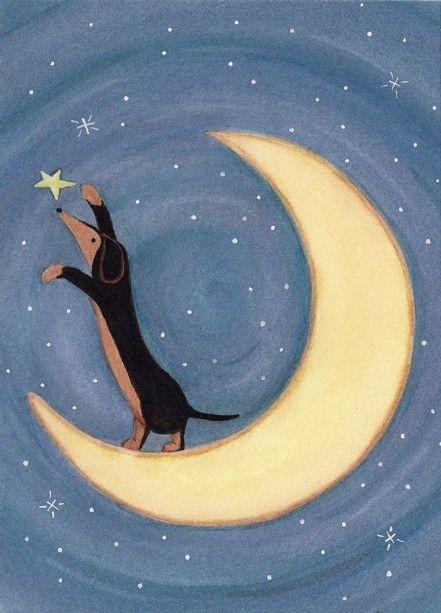 Black and tan dachshund (doxie) reaching for the stars / Lynch signed  folk art print weiner wiener dog