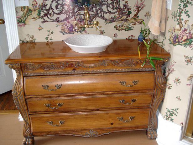 Using Old Furniture as Bathroom Vanity  http://coastersfurniture.org/shabby-chic-furniture/retro-furniture/