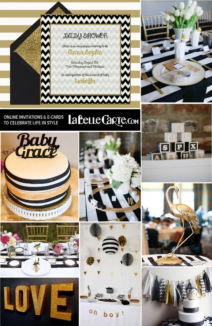 Online Baby Shower Invitations Chic White Black Gold Sophisticated Original Party Decor golden Ideas LaBelleCarte Invitations at: http://www.labellecarte.com/en/virtual_cards/Online_Invitations_Baby_Shower