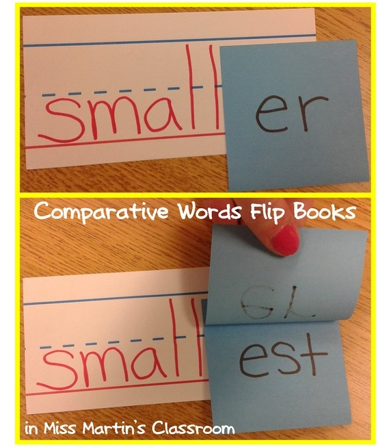 Comparative Words Flip Books - teach -er and -est using only a few sentence strips & some sticky notes