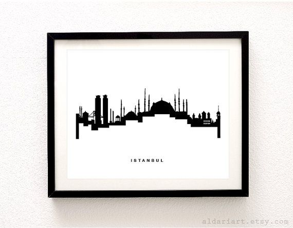 Istanbul Skyline Print Istanbul Cityscape Print by AldariArt