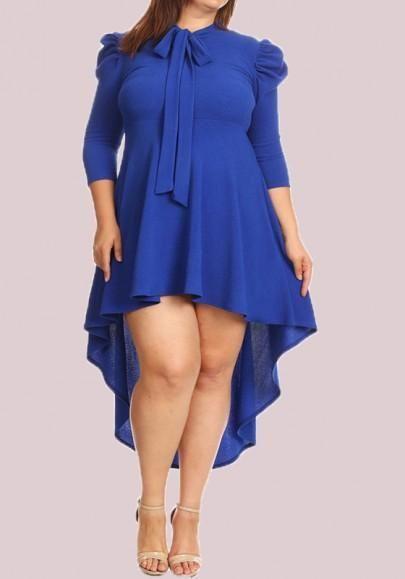 5c17d39e465e1 Royal Blue Irregular Bow Plus Size Swallowtail 3 4 Sleeve Homecoming Cute  High-low Midi Dress