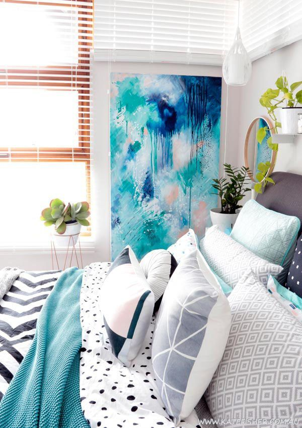 Bedroom Art: Contemporary Modern Bedroom With Grey, Black And White Adairs  Bedding And Indigo