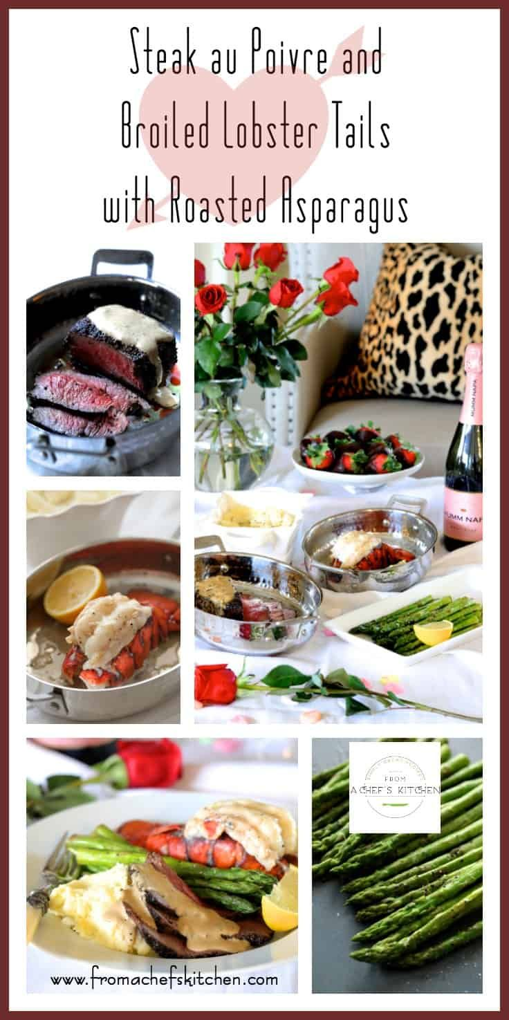 MSG 4 21+ #MyTFMValentine #TheFreshMarket#CollectiveBias #Ad - Steak au Poivre and Broiled Lobster Tail with Roasted Asparagus, part of The Fresh Market's Valentine's Day Meal is the perfect way celebrate Valentine's Day! Here, their Premium Choice Chateaubriand Cut Filet Mignon and North Atlantic Cold Water Lobster Tails combine for an elegant, romantic meal you'll both love! @TheFreshMarket via @chefcarolb