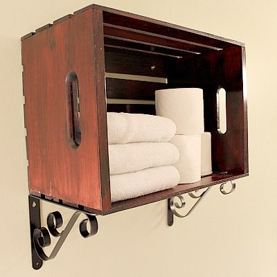Hometalk :: Custom Over the Toilet Storage Solutions With Pine Crates