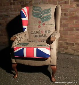 Upcycled coffee sack armchair by Mescaleros Upholstery, our brilliant upholstery teacher.