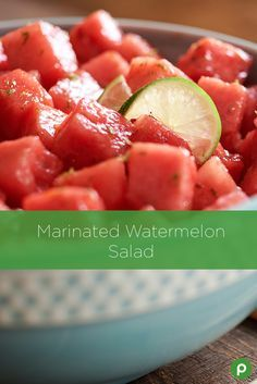 Spice up your everyday watermelon with this Publix Aprons recipe for Marinated Watermelon Salad. Zest a lime and squeeze for juice. Then, place both in a salad bowl. Whisk in oil and chili sauce until well blended. Add watermelon and toss until evenly coated. Chill for 10 minutes and stir occasionally, to marinate. Sprinkle with salt and voila!