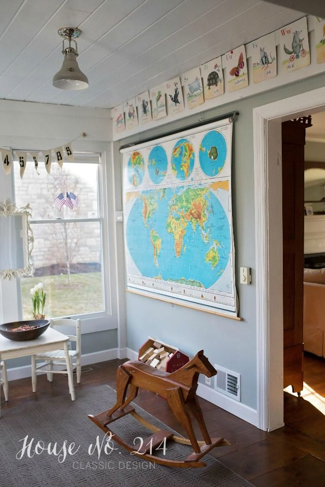How cute is this playroom with the vintage school map eclecticallyvintage.com